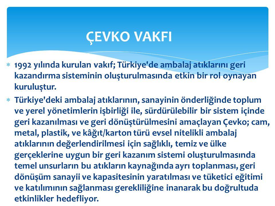  1992 yılında kurulan vakıf; Türkiye'de ambalaj atıklarını geri kazandırma sisteminin oluşturulmasında etkin bir rol oynayan kuruluştur.  Türkiye'de