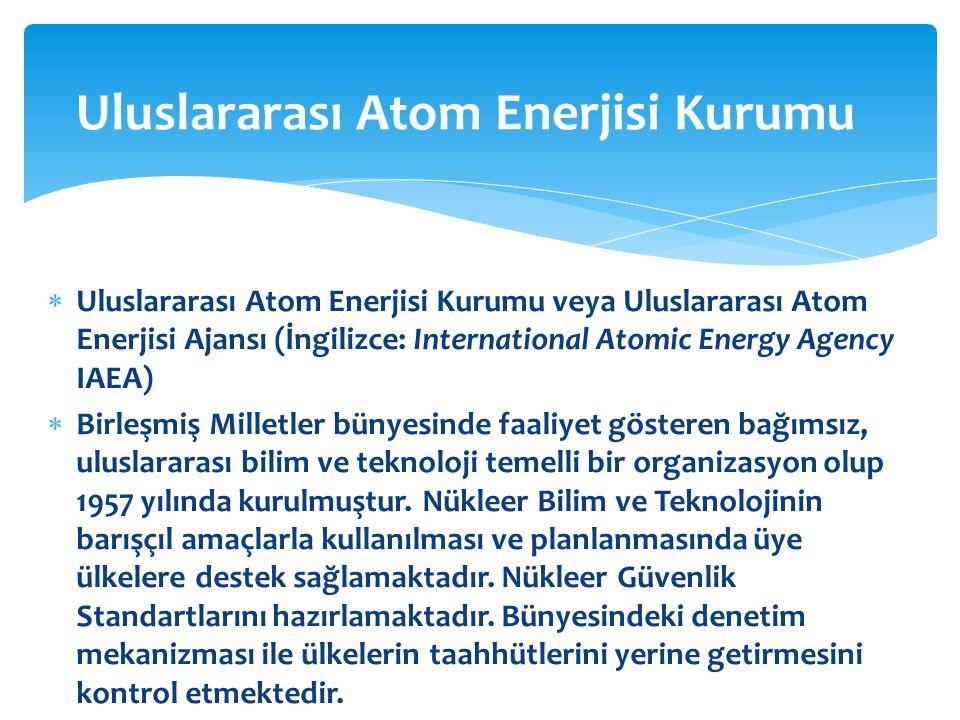  Uluslararası Atom Enerjisi Kurumu veya Uluslararası Atom Enerjisi Ajansı (İngilizce: International Atomic Energy Agency IAEA)  Birleşmiş Milletler