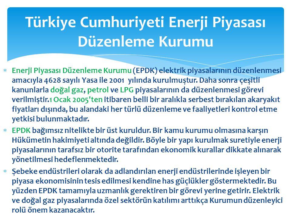  Enerji Piyasası Düzenleme Kurumu (EPDK) elektrik piyasalarının düzenlenmesi amacıyla 4628 sayılı Yasa ile 2001 yılında kurulmuştur. Daha sonra çeşit