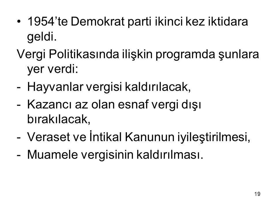 19 1954'te Demokrat parti ikinci kez iktidara geldi. Vergi Politikasında ilişkin programda şunlara yer verdi: -Hayvanlar vergisi kaldırılacak, -Kazanc