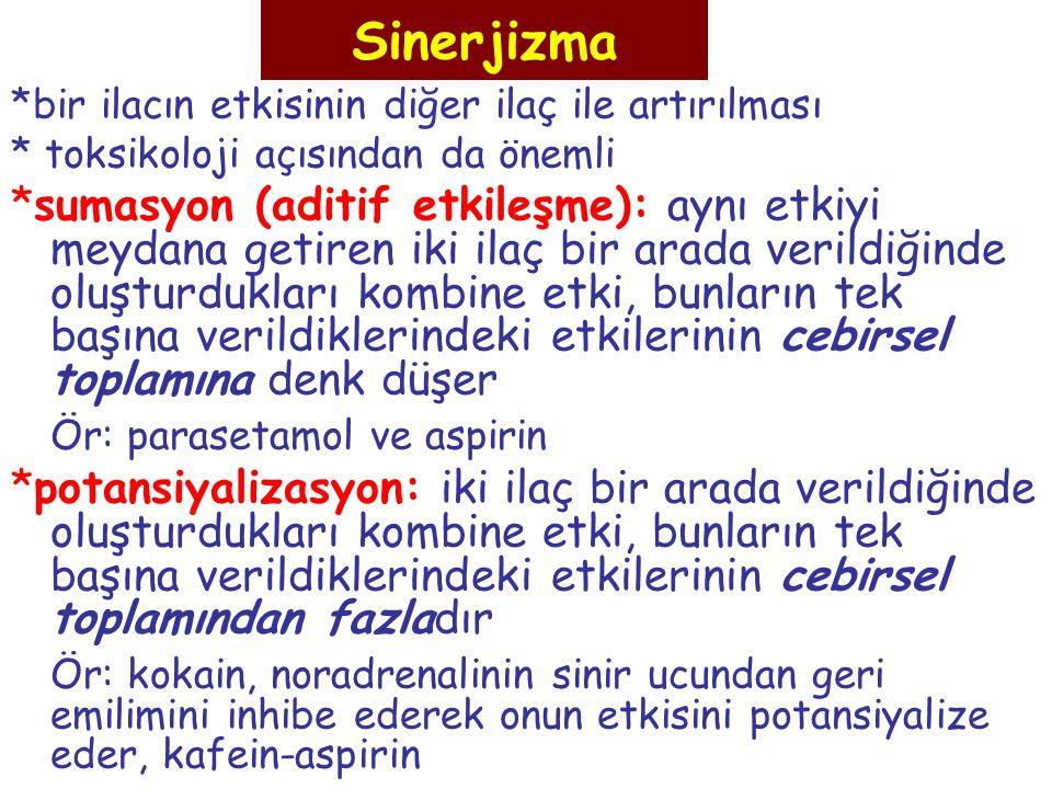 Sinerjizma *bir ilacın etkisinin diğer ilaç ile artırılması * toksikoloji açısından da önemli *sumasyon (aditif etkileşme): aynı etkiyi meydana getire