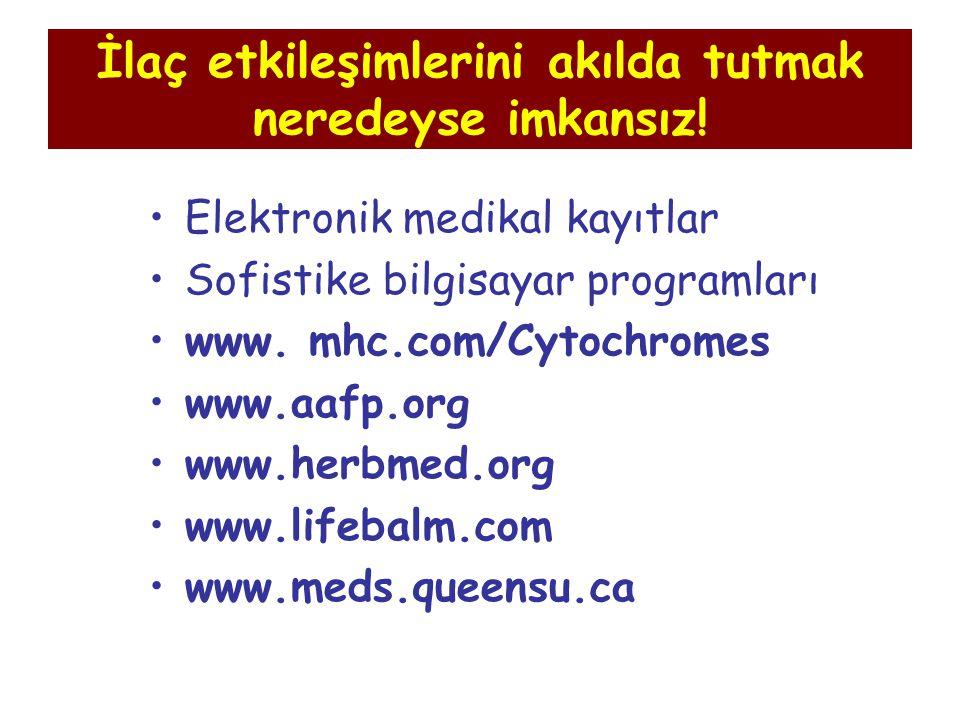 İlaç etkileşimlerini akılda tutmak neredeyse imkansız! Elektronik medikal kayıtlar Sofistike bilgisayar programları www. mhc.com/Cytochromes www.aafp.