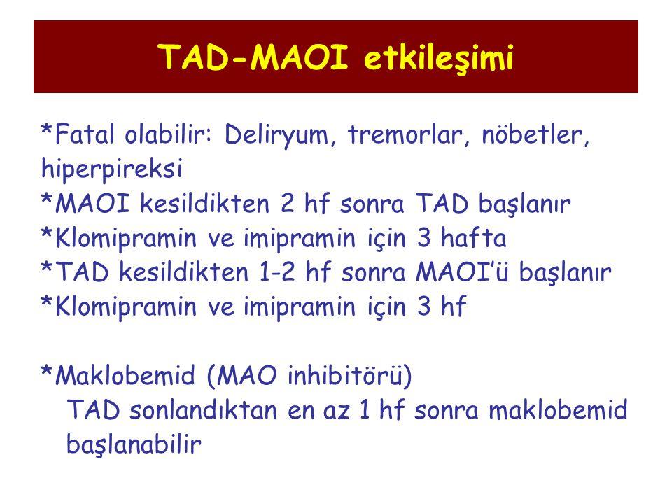 TAD-MAOI etkileşimi *Fatal olabilir: Deliryum, tremorlar, nöbetler, hiperpireksi *MAOI kesildikten 2 hf sonra TAD başlanır *Klomipramin ve imipramin i