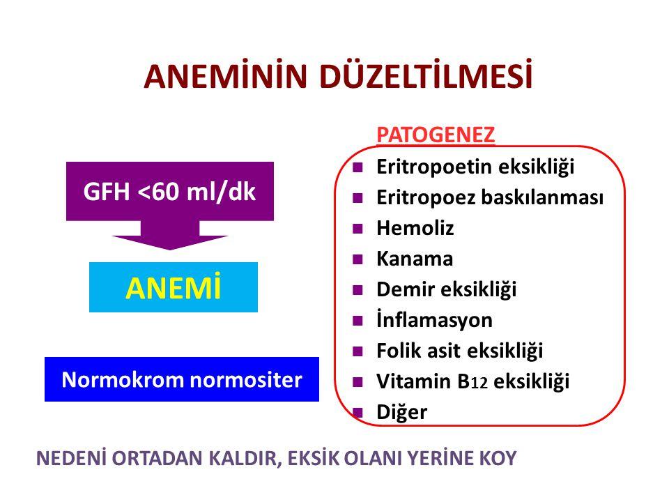 ANEMİNİN DÜZELTİLMESİ PATOGENEZ Eritropoetin eksikliği Eritropoez baskılanması Hemoliz Kanama Demir eksikliği İnflamasyon Folik asit eksikliği Vitamin