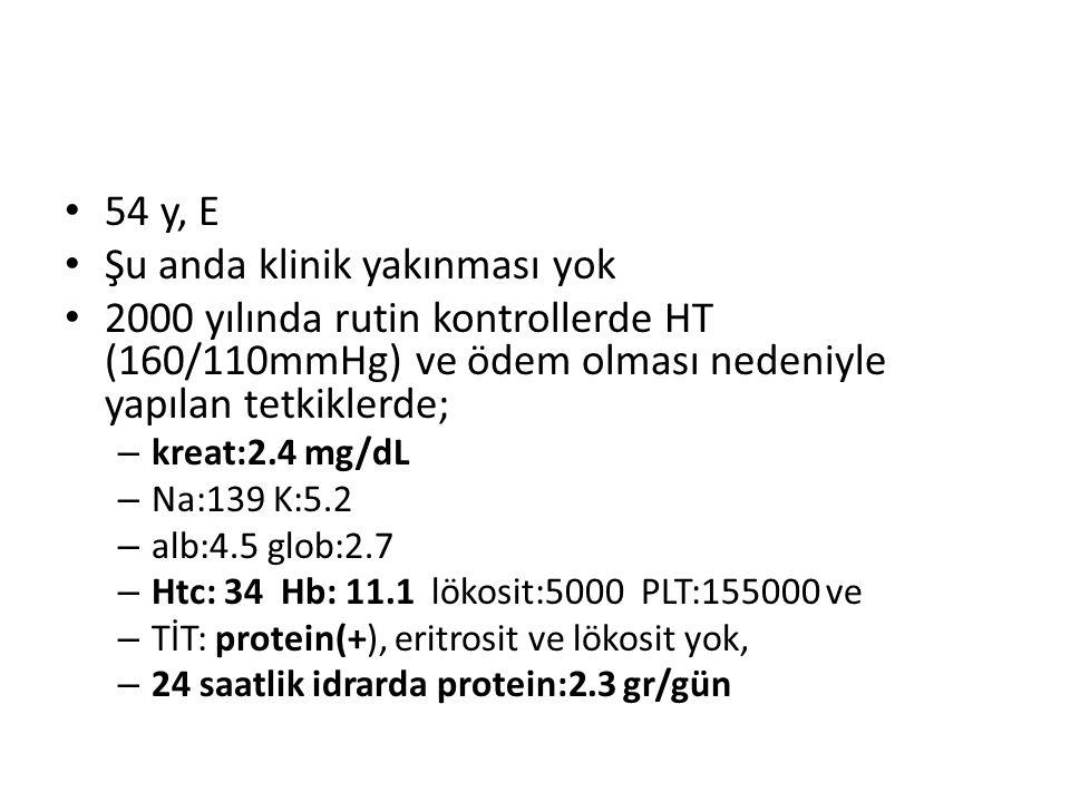 54 y, E Şu anda klinik yakınması yok 2000 yılında rutin kontrollerde HT (160/110mmHg) ve ödem olması nedeniyle yapılan tetkiklerde; – kreat:2.4 mg/dL