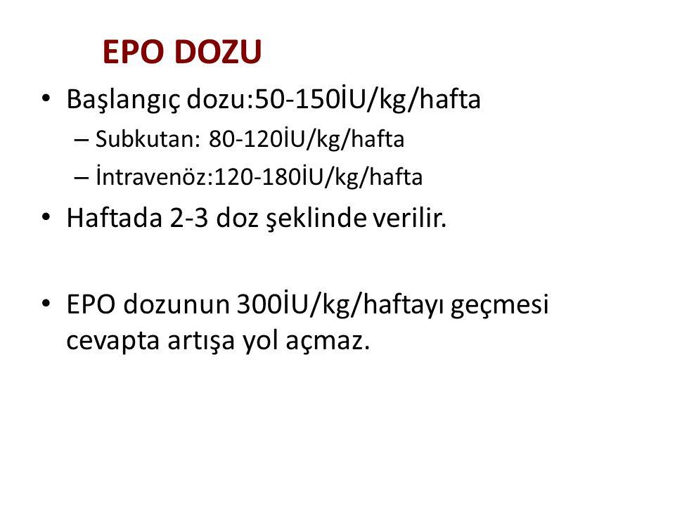EPO DOZU Başlangıç dozu:50-150İU/kg/hafta – Subkutan: 80-120İU/kg/hafta – İntravenöz:120-180İU/kg/hafta Haftada 2-3 doz şeklinde verilir. EPO dozunun