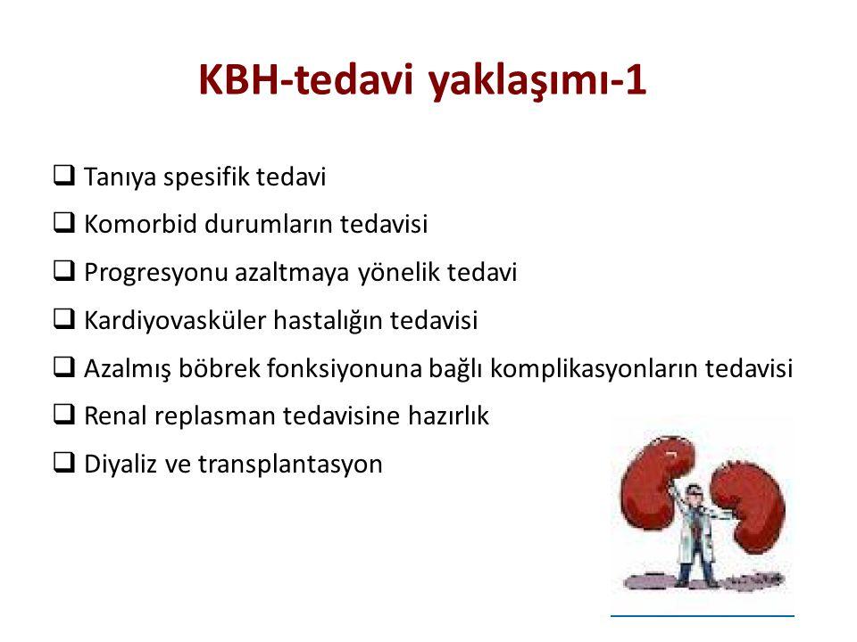 KBH-tedavi yaklaşımı-1  Tanıya spesifik tedavi  Komorbid durumların tedavisi  Progresyonu azaltmaya yönelik tedavi  Kardiyovasküler hastalığın ted