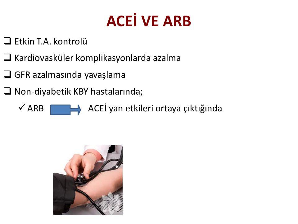 ACEİ VE ARB  Etkin T.A. kontrolü  Kardiovasküler komplikasyonlarda azalma  GFR azalmasında yavaşlama  Non-diyabetik KBY hastalarında; ARB ACEİ yan