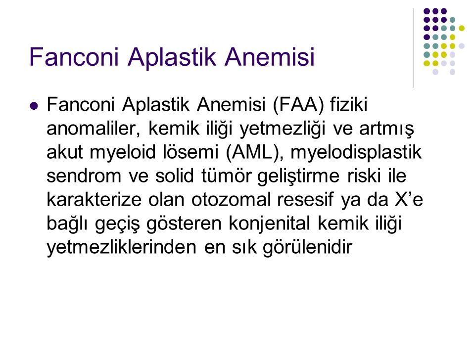 Fanconi Aplastik Anemisi Fanconi Aplastik Anemisi (FAA) fiziki anomaliler, kemik iliği yetmezliği ve artmış akut myeloid lösemi (AML), myelodisplastik
