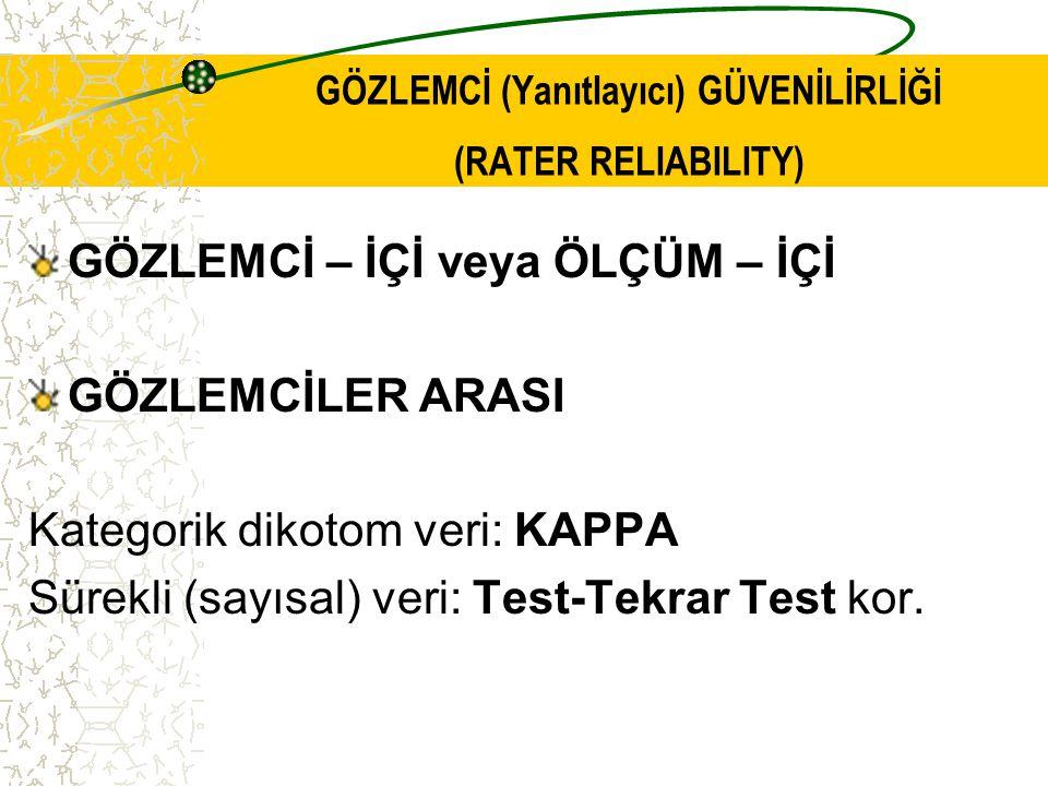 YANIT TUTARLILIĞI Test-tekrar test korelasyon Sınıf İçi Korelasyon Katsayısı (ICC) Genelleme Katsayısı olarak da bilinir.