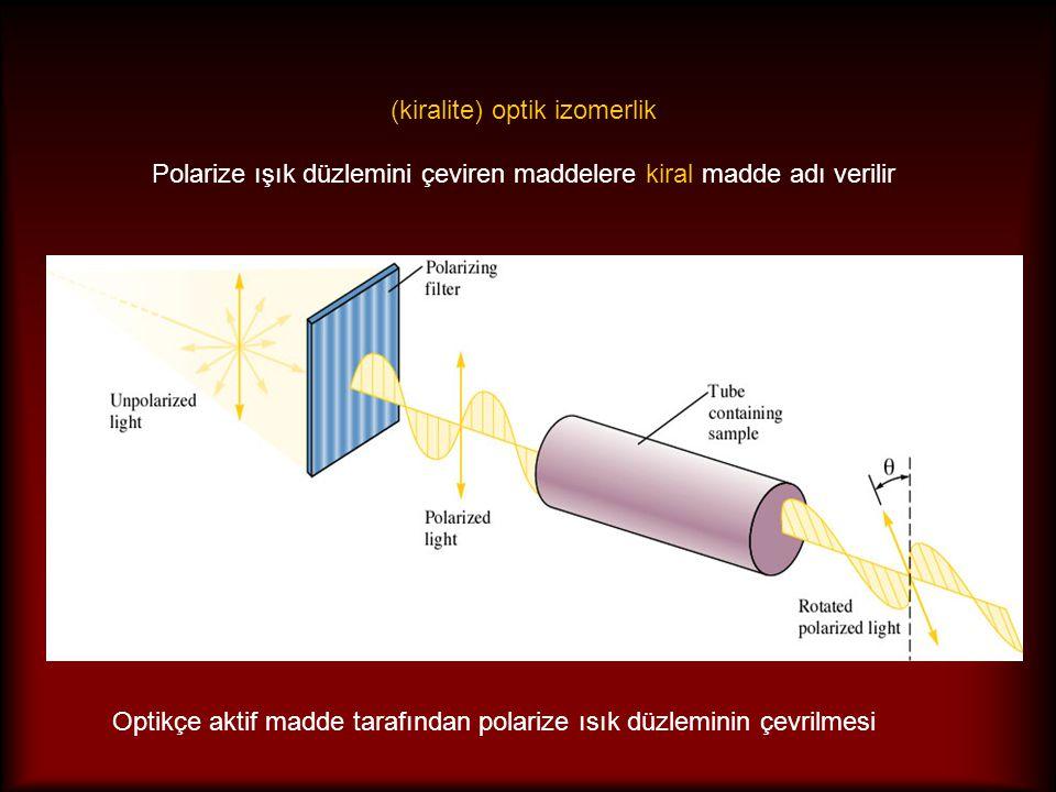 Optikçe aktif madde tarafından polarize ısık düzleminin çevrilmesi (kiralite) optik izomerlik Polarize ışık düzlemini çeviren maddelere kiral madde ad