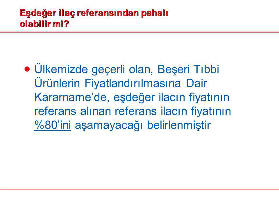 Türkiye'de eşdeğer ilaç diğer ülkelerdeki eşdeğerlere göre daha pahalı mıdır.