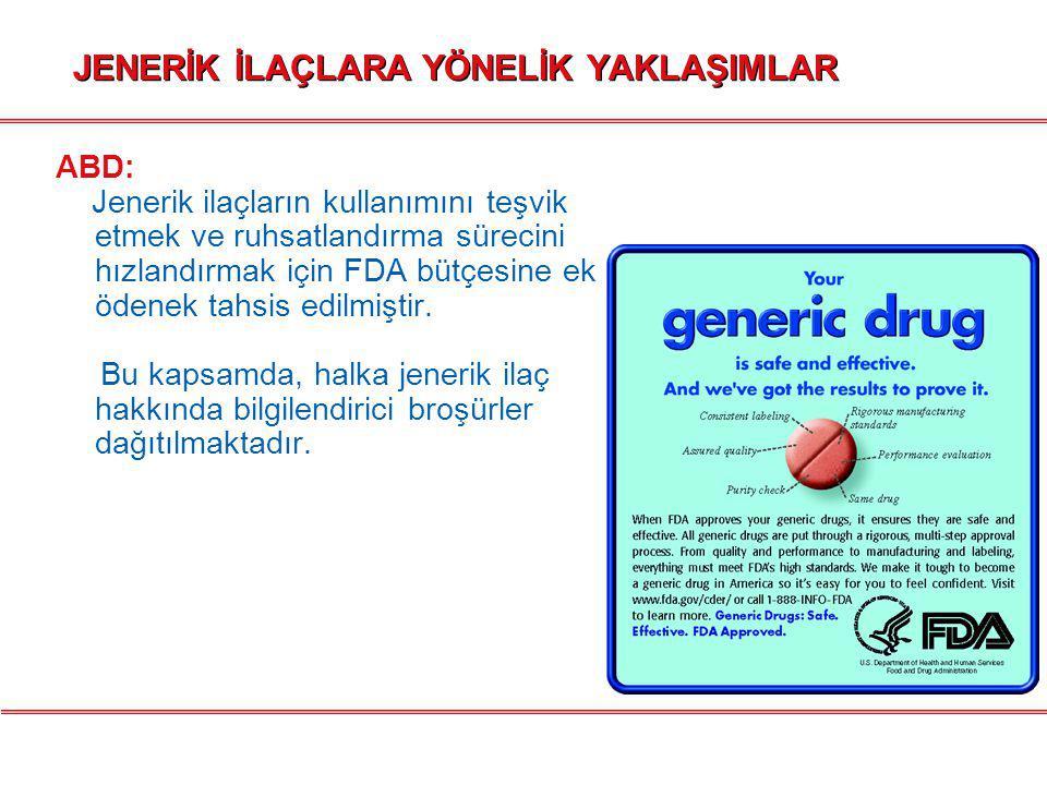 JENERİK İLAÇLARA YÖNELİK YAKLAŞIMLAR  BELÇİKA: Medyada kamuoyuna yönelik jenerik ilaç bilgilendirme kampanyası başlatılmıştır.