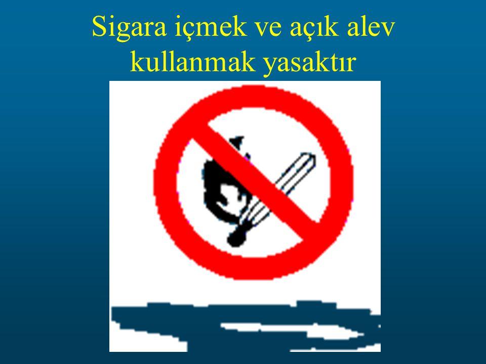 Sigara içmek ve açık alev kullanmak yasaktır