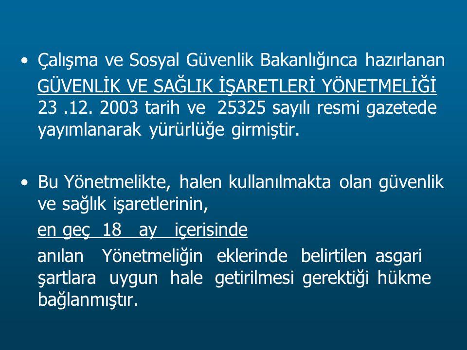 Çalışma ve Sosyal Güvenlik Bakanlığınca hazırlanan GÜVENLİK VE SAĞLIK İŞARETLERİ YÖNETMELİĞİ 23.12. 2003 tarih ve 25325 sayılı resmi gazetede yayımlan