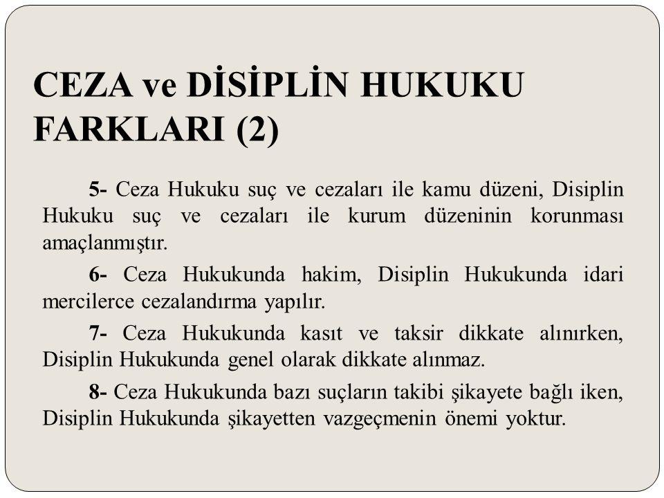 BAZI KARARLAR (15) -Devlet memurun Ceza Kanununa göre mahkûm olması ya da olmaması, disiplin soruşturması yapılması ve disiplin cezasının uygulanmasına engel teşkil etmez.