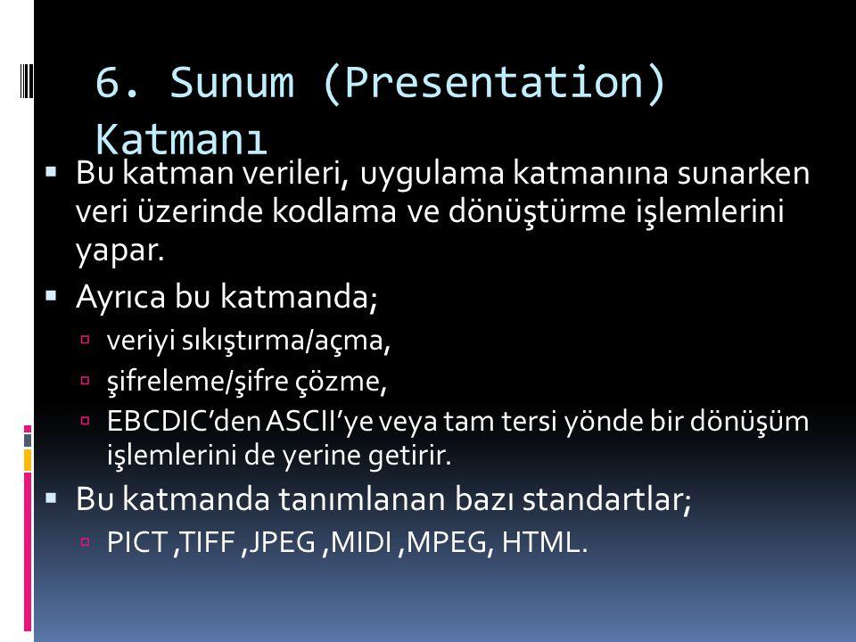 6. Sunum (Presentation) Katmanı  Bu katman verileri, uygulama katmanına sunarken veri üzerinde kodlama ve dönüştürme işlemlerini yapar.  Ayrıca bu k