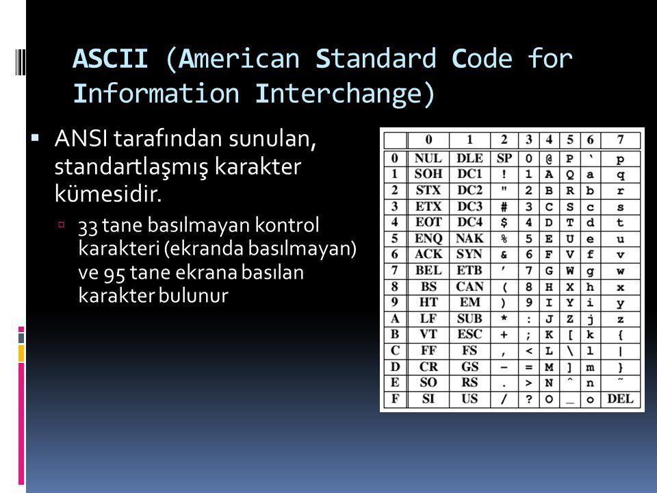 ASCII (American Standard Code for Information Interchange)  ANSI tarafından sunulan, standartlaşmış karakter kümesidir.  33 tane basılmayan kontrol