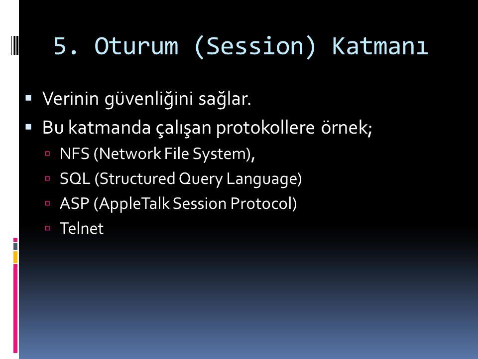 5. Oturum (Session) Katmanı  Verinin güvenliğini sağlar.  Bu katmanda çalışan protokollere örnek;  NFS (Network File System),  SQL (Structured Que