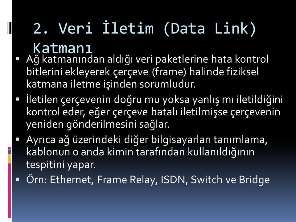 2. Veri İletim (Data Link) Katmanı  Ağ katmanından aldığı veri paketlerine hata kontrol bitlerini ekleyerek çerçeve (frame) halinde fiziksel katmana