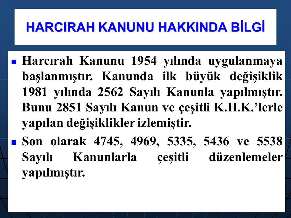 HARCIRAH KANUNU HAKKINDA BİLGİ Harcırah Kanunu 1954 yılında uygulanmaya başlanmıştır. Kanunda ilk büyük değişiklik 1981 yılında 2562 Sayılı Kanunla ya