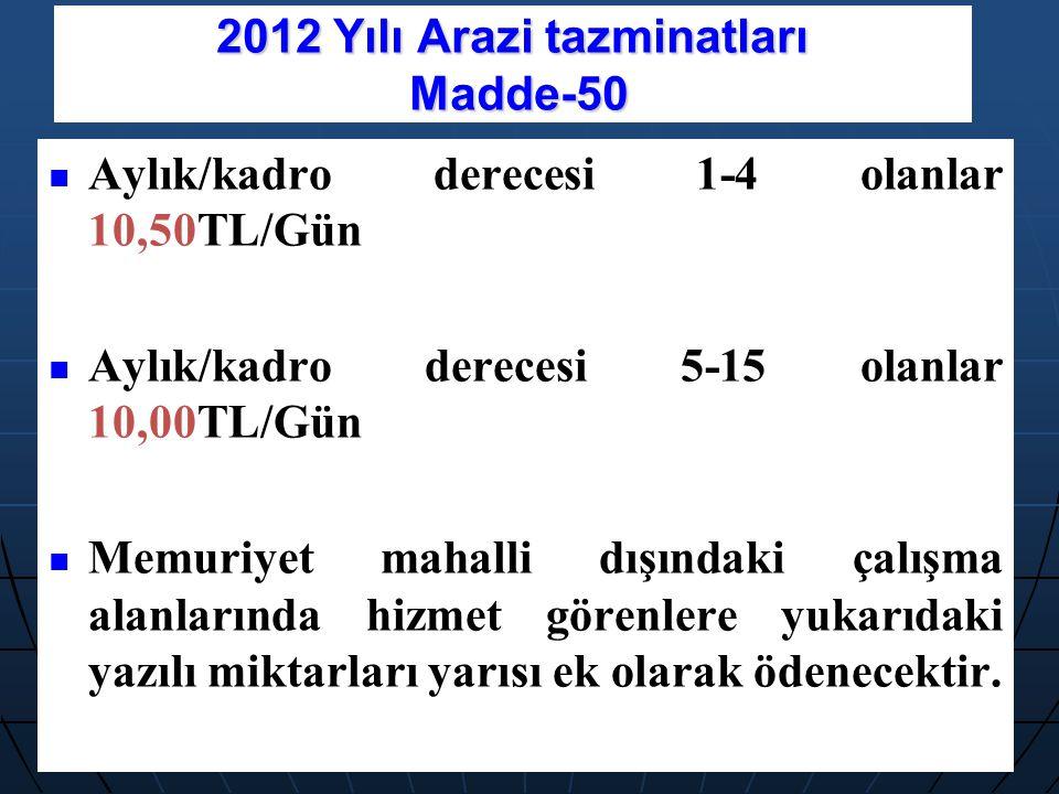 2012 Yılı Arazi tazminatları Madde-50 Aylık/kadro derecesi 1-4 olanlar 10,50TL/Gün Aylık/kadro derecesi 5-15 olanlar 10,00TL/Gün Memuriyet mahalli dış