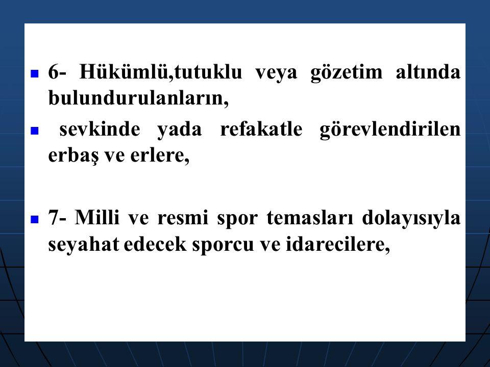 8-Birlik halinde yabancı memleketlere gönderilecek Türk Silahlı Kuvvetleri mensuplarına ve bunların Türkiye'de bırakacakları aile fertlerine, 9-Aile ile birlikte oturulması yasak edilen bölgelerdeki askeri şahısların aile fertlerine, 10-Bu konuda belirtilen özel hallerde askeri öğrenciler ile erbaş ve erlere, Harcırah Verilir.