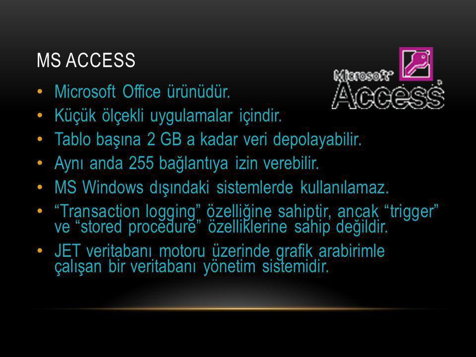 MS ACCESS Microsoft Office ürünüdür.Küçük ölçekli uygulamalar içindir.