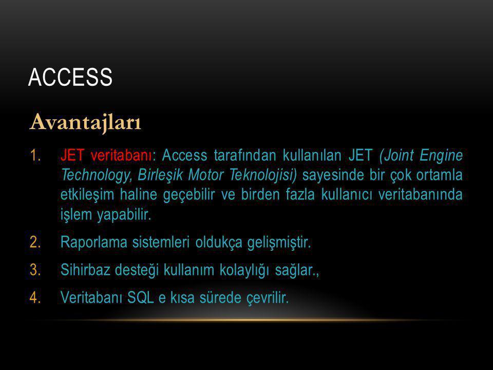 ACCESS Avantajları 1.JET veritabanı: Access tarafından kullanılan JET (Joint Engine Technology, Birleşik Motor Teknolojisi) sayesinde bir çok ortamla etkileşim haline geçebilir ve birden fazla kullanıcı veritabanında işlem yapabilir.