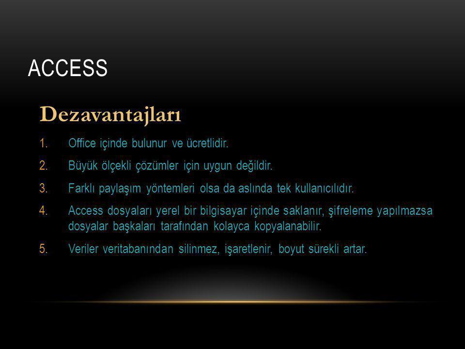 ACCESS Dezavantajları 1.Office içinde bulunur ve ücretlidir.