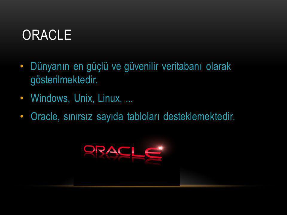 ORACLE Dünyanın en güçlü ve güvenilir veritabanı olarak gösterilmektedir.