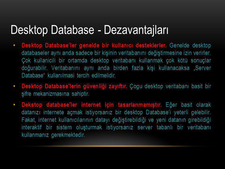 Desktop Database'ler genelde bir kullanıcı desteklerler. Genelde desktop databaseler aynı anda sadece bir kişinin veritabanını değiştirmesine izin ver