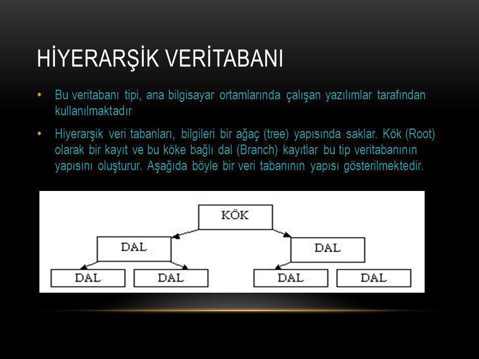 HİYERARŞİK VERİTABANI Bu veritabanı tipi, ana bilgisayar ortamlarında çalışan yazılımlar tarafından kullanılmaktadır Hiyerarşik veri tabanları, bilgileri bir ağaç (tree) yapısında saklar.