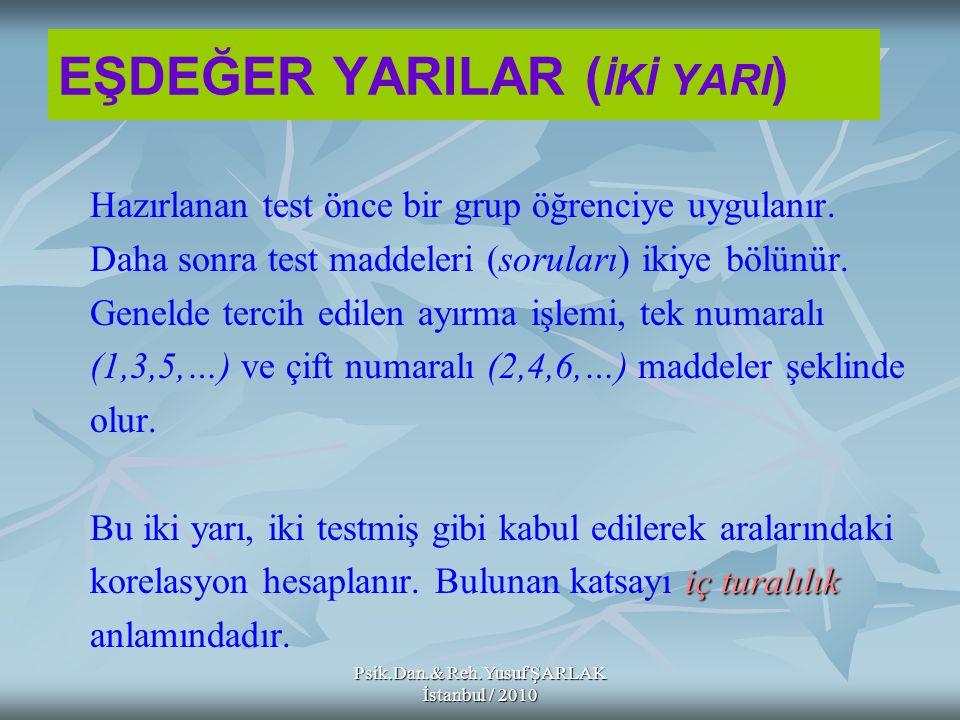Psik.Dan.& Reh.Yusuf ŞARLAK İstanbul / 2010 EŞDEĞER YARILAR ( İKİ YARI ) Hazırlanan test önce bir grup öğrenciye uygulanır. Daha sonra test maddeleri