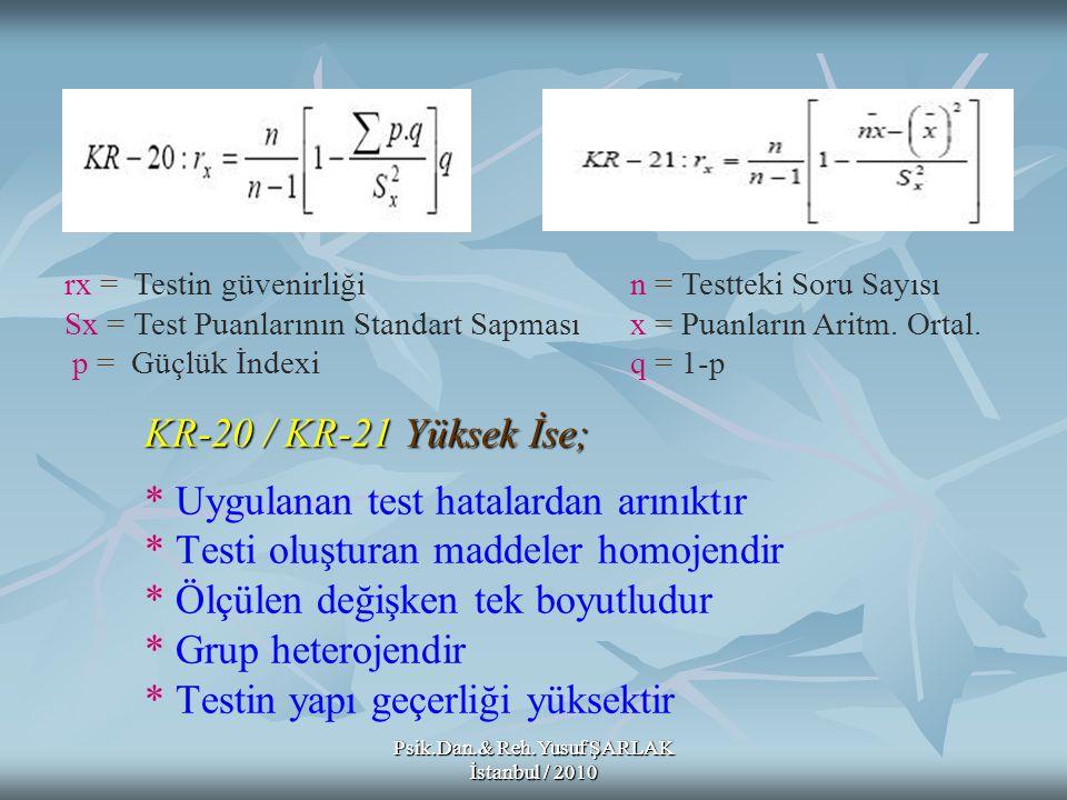 Psik.Dan.& Reh.Yusuf ŞARLAK İstanbul / 2010 KR-20 / KR-21 Yüksek İse; KR-20 / KR-21 Yüksek İse; * Uygulanan test hatalardan arınıktır * Testi oluştura