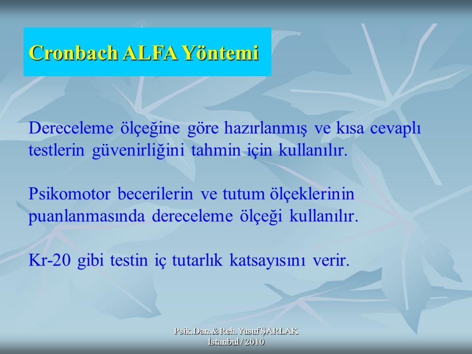 Psik.Dan.& Reh.Yusuf ŞARLAK İstanbul / 2010 Dereceleme ölçeğine göre hazırlanmış ve kısa cevaplı testlerin güvenirliğini tahmin için kullanılır. Psiko