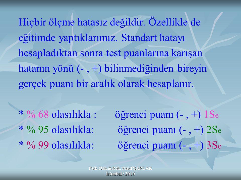 Psik.Dan.& Reh.Yusuf ŞARLAK İstanbul / 2010 Hiçbir ölçme hatasız değildir. Özellikle de eğitimde yaptıklarımız. Standart hatayı hesapladıktan sonra te