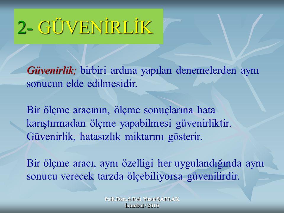 2- GÜVENİRLİK Psik.Dan.& Reh.Yusuf ŞARLAK İstanbul / 2010 Güvenirlik; Güvenirlik; birbiri ardına yapılan denemelerden aynı sonucun elde edilmesidir. B