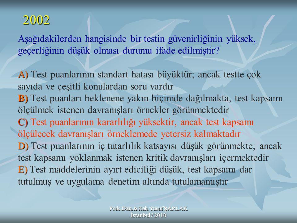 Psik.Dan.& Reh.Yusuf ŞARLAK İstanbul / 2010 A) B) C) D) E) Aşağıdakilerden hangisinde bir testin güvenirliğinin yüksek, geçerliğinin düşük olması duru