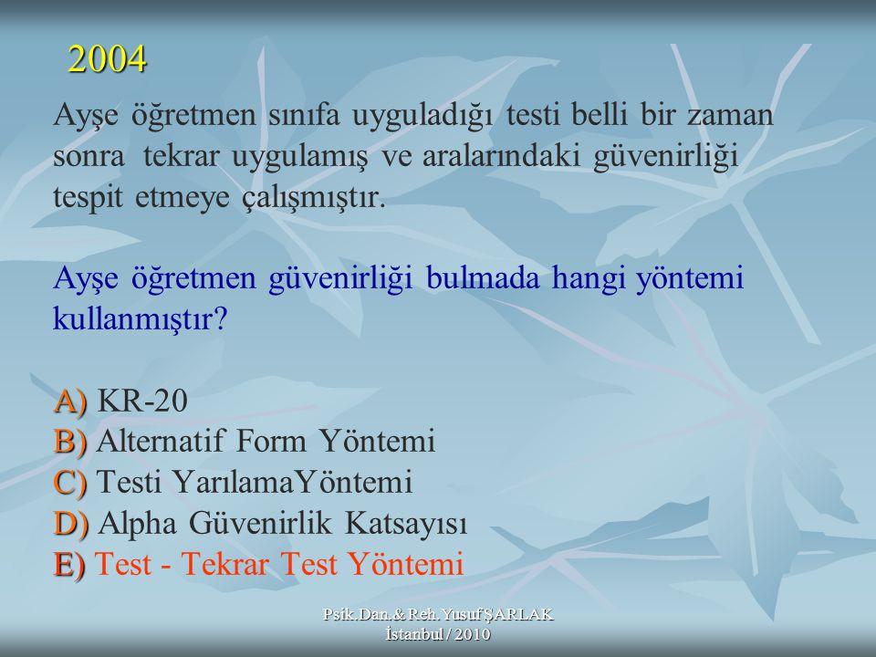 Psik.Dan.& Reh.Yusuf ŞARLAK İstanbul / 2010 A) B) C) D) E) Ayşe öğretmen sınıfa uyguladığı testi belli bir zaman sonra tekrar uygulamış ve aralarındak