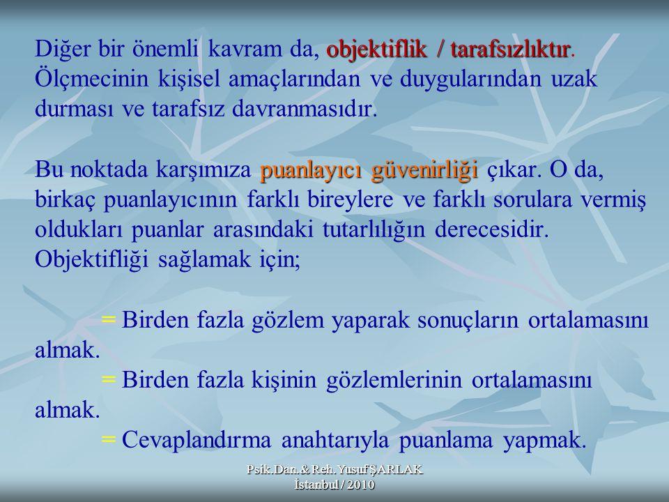Psik.Dan.& Reh.Yusuf ŞARLAK İstanbul / 2010 A) B) C) D) E) Bir öğretmen sınav sorularına verilen yanıtları dört beş gün arayla iki kez puanlamış; bu iki puanlamadan elde ettiği sonuçları karşılaştırarak aralarındaki tutarlılığa bakmıştır.
