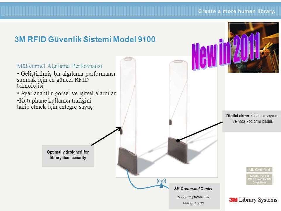 3M RFID Güvenlik Sistemi Model 9100 Optimally designed for library item security 3M Command Center Yönetim yazılımı ile entegrasyon Digital ekran kullanıcı sayısını ve hata kodlarını bildirir.