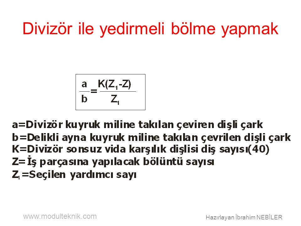www.modulteknik.com Hazırlayan İbrahim NEBİLER Divizör ile yedirmeli bölme yapmak