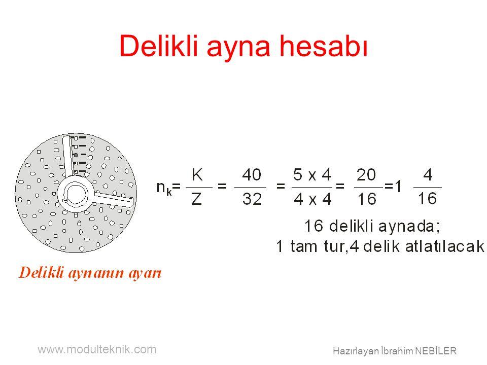 www.modulteknik.com Hazırlayan İbrahim NEBİLER Delikli ayna hesabı