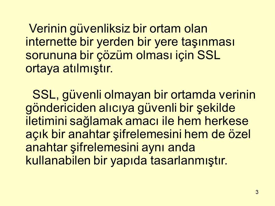 3 Verinin güvenliksiz bir ortam olan internette bir yerden bir yere taşınması sorununa bir çözüm olması için SSL ortaya atılmıştır. SSL, güvenli olmay