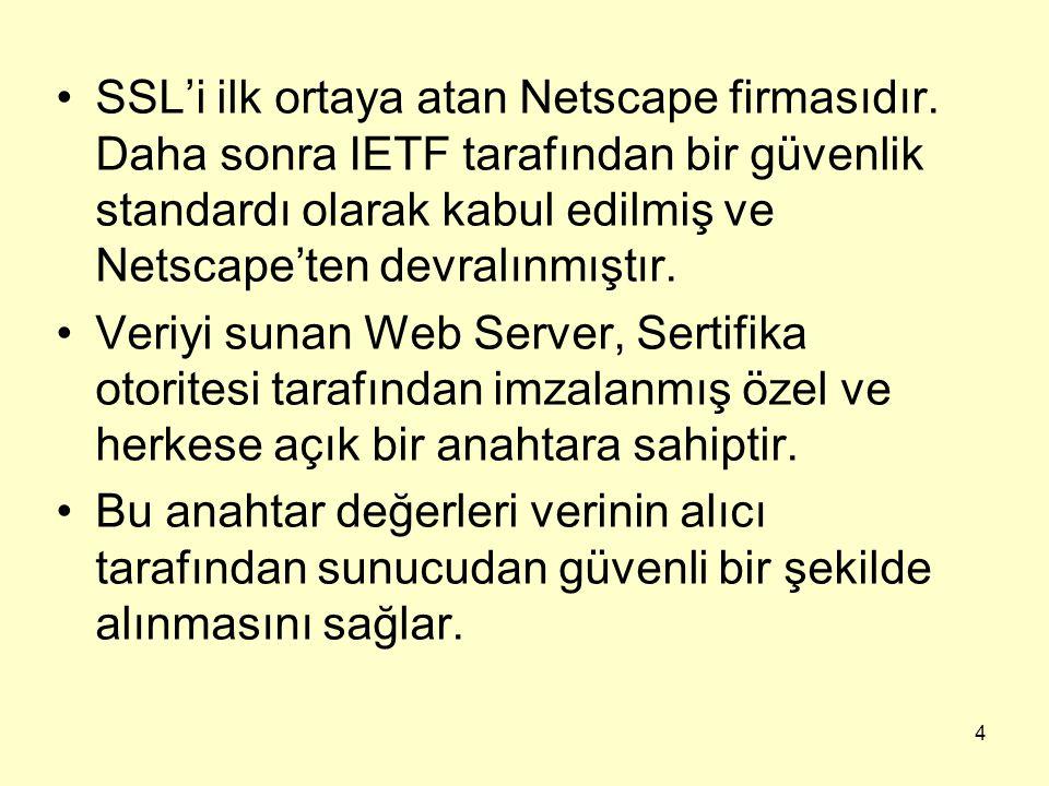 4 SSL'i ilk ortaya atan Netscape firmasıdır. Daha sonra IETF tarafından bir güvenlik standardı olarak kabul edilmiş ve Netscape'ten devralınmıştır. Ve