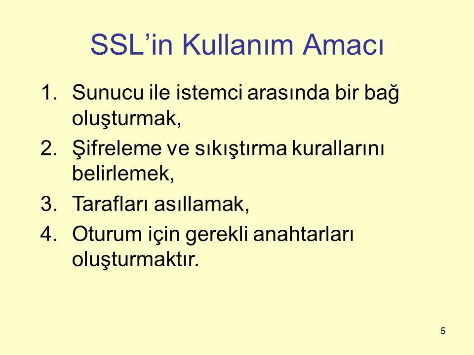 5 SSL'in Kullanım Amacı 1.Sunucu ile istemci arasında bir bağ oluşturmak, 2.Şifreleme ve sıkıştırma kurallarını belirlemek, 3.Tarafları asıllamak, 4.O