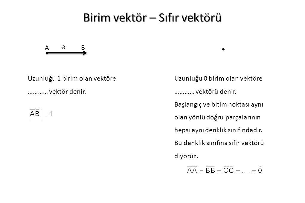 Birim vektör – Sıfır vektörü AB Uzunluğu 1 birim olan vektöre ………… vektör denir.