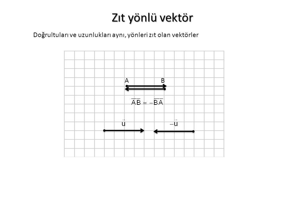 Zıt yönlü vektör AB Doğrultuları ve uzunlukları aynı, yönleri zıt olan vektörler