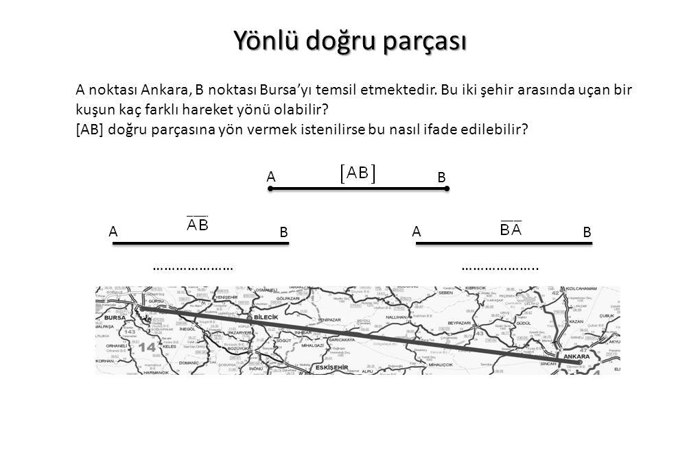 Yönlü doğru parçası A noktası Ankara, B noktası Bursa'yı temsil etmektedir.